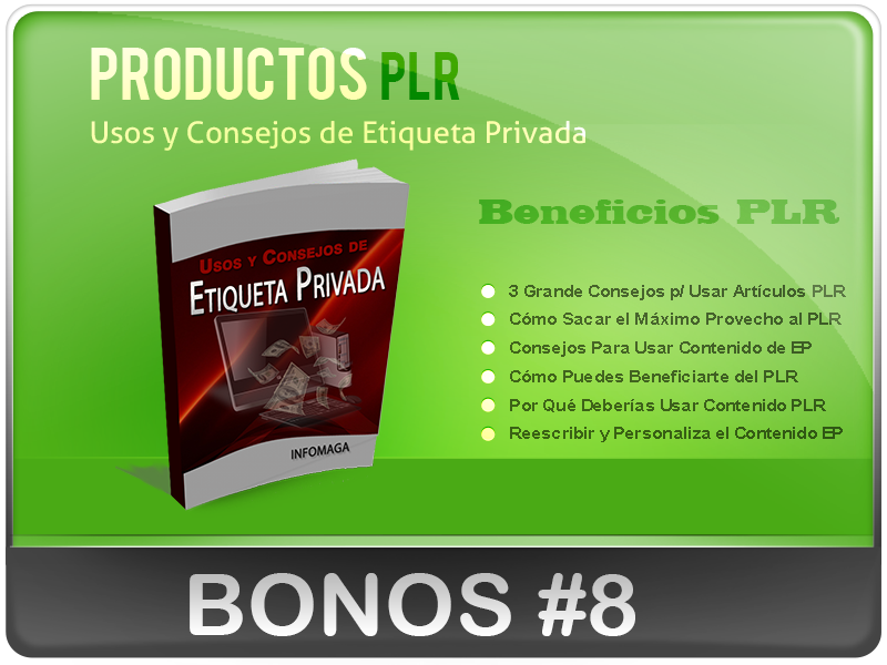 Bonos Super Especiales de los Productos PLR